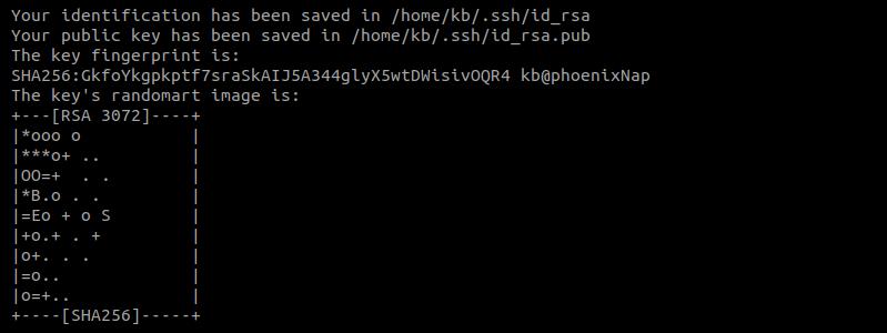 Output of generated keys from ssh-keygen