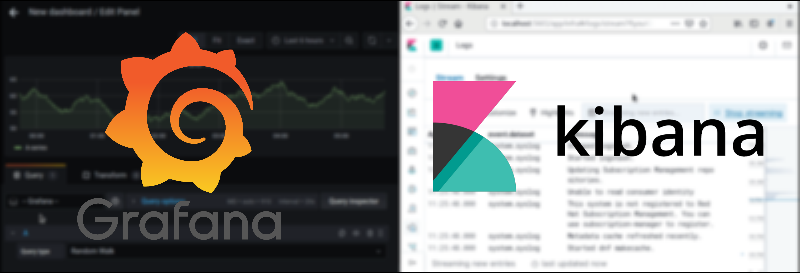 Grafana and Kibana monitoring tools interface comparison for CI/CD Security