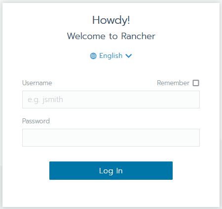 Rancher login dialogue box