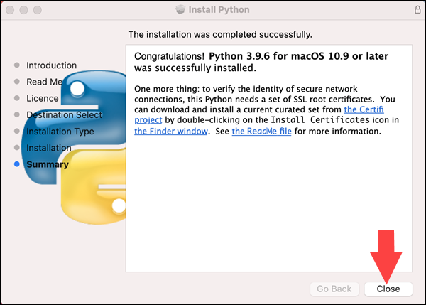 The installer confirms the successful installation of Python 3.9 on MacOS