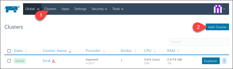 Adding a new cluster in Rancher.