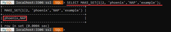 An example of the MAKE_SET string function.
