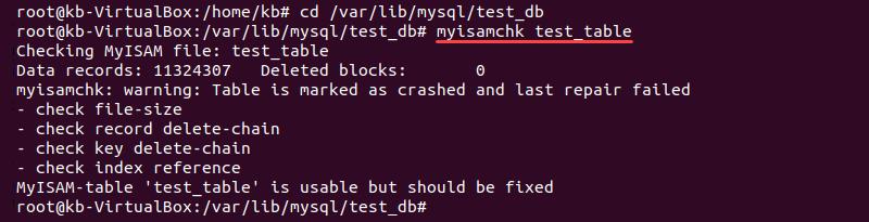 Checking a MyISAM table using myisamchk