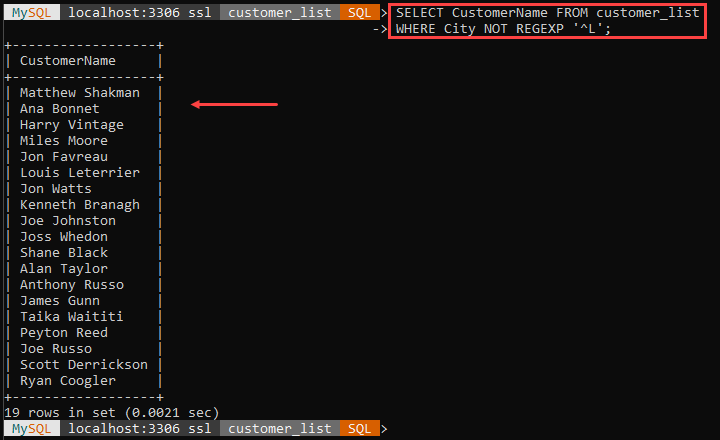 An example of the NOT REGEXP string function.