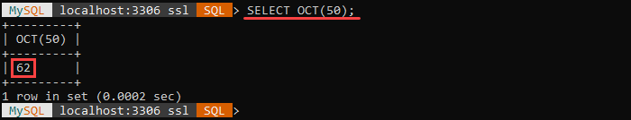 An example of the OCT string function.