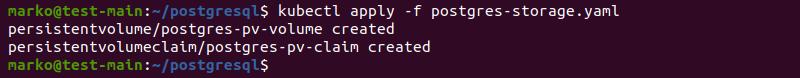 Applying PostgreSQL persistent volume and persistent volume claim using kubectl