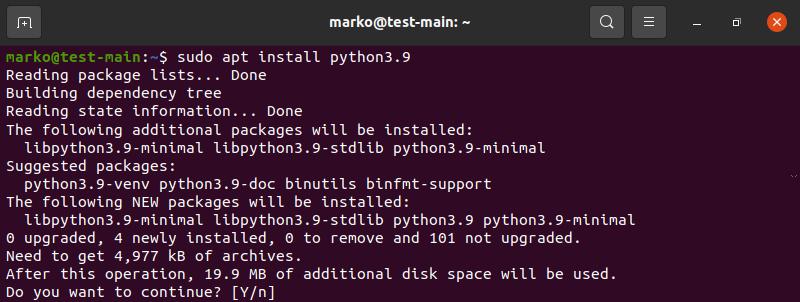 Installing Python 3.9 in Ubuntu with apt