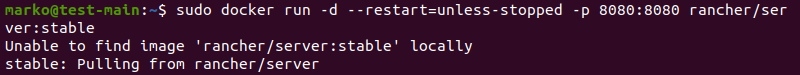 Installing Rancher using Docker on Ubuntu.