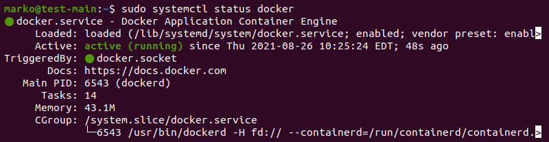 Check Docker status on Ubuntu.