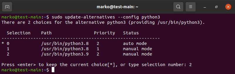 Configuring update-alternatives for Python 3 in Ubuntu