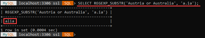 An example of the REGEXP_SUBSTR string function.