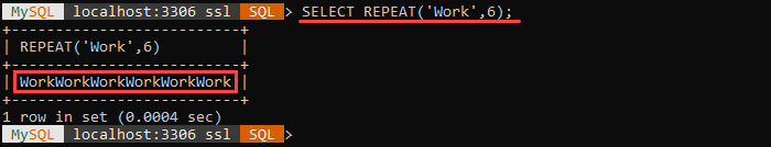An example of the REPEAT string function.