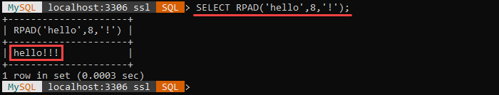 An example of the RPAD string function.