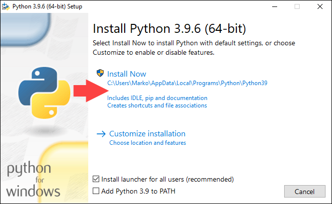 Starting installation of Python 3 in Windows