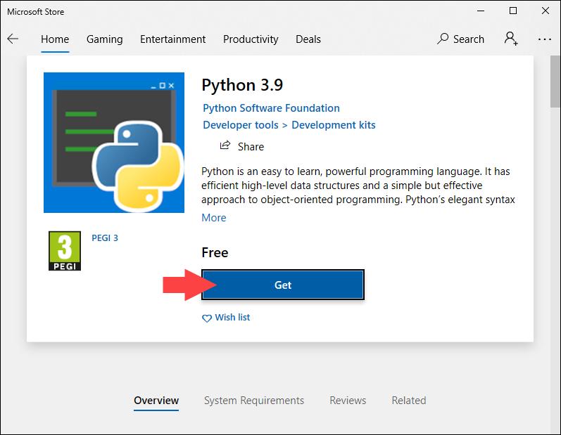 Starting Python 3.9 installation in Microsoft Store