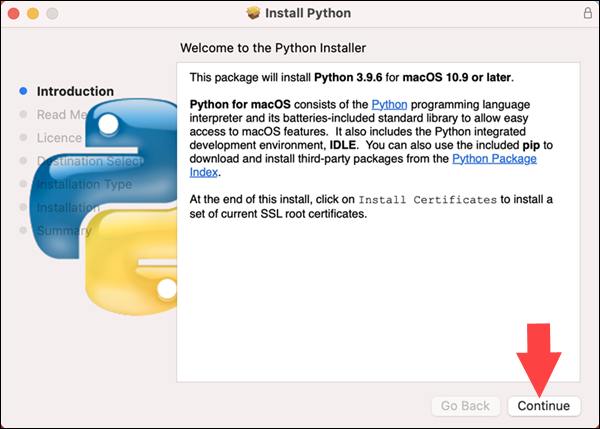 Starting a Python 3.9 installation in Mac OS using the installer