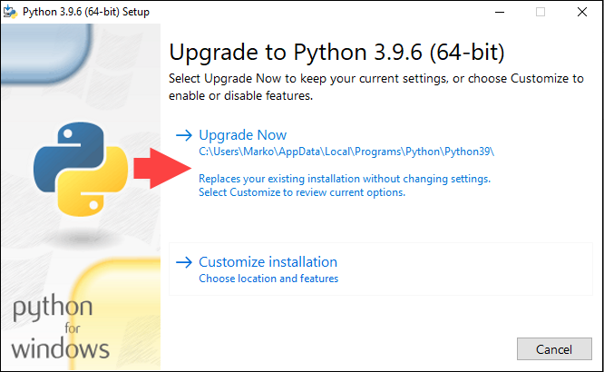 Starting the upgrade of Python 3 in Windows
