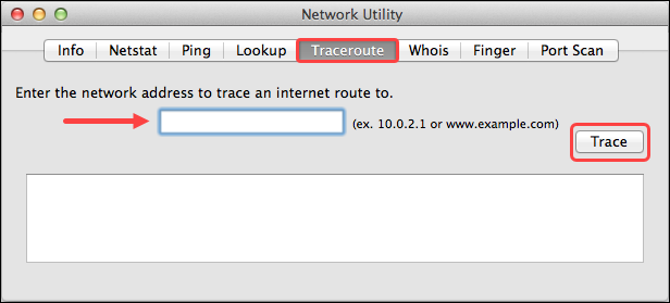 Traceroute on macOS using the GUI