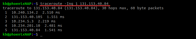 Output of traceroute -Inq