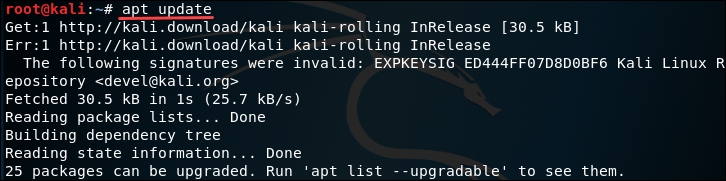 Update Kali Linux package manager.