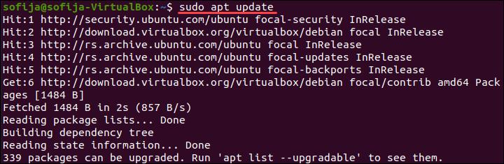 Updating Ubuntu after adding the VirtualBox repository.