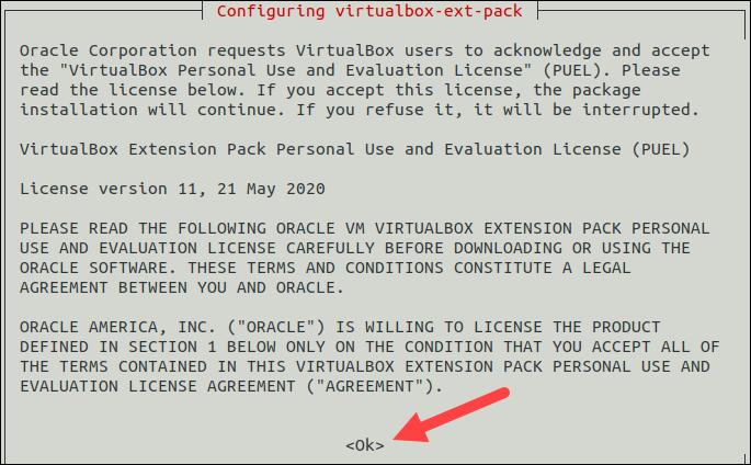 VirtualBox extension pack license.