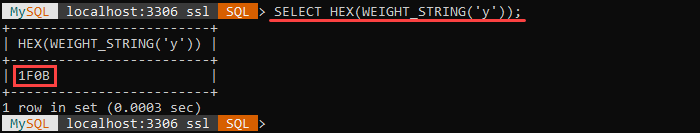 An example of the WEIGHT_STRING string function.