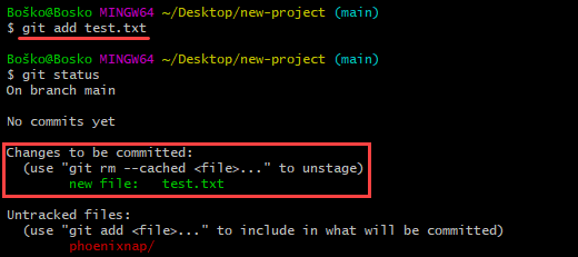 Instruct Git to track file changes.
