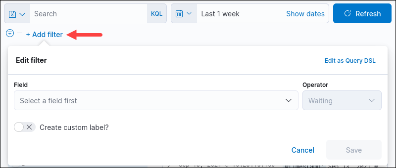 add filter dialog box location