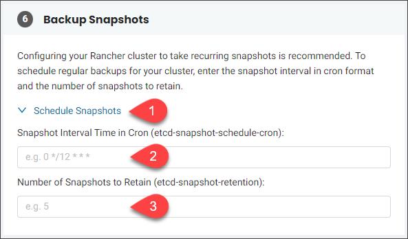 Advanced Configuration Settings -Backup Snapshots section