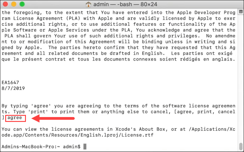 Agree to Xcode terms of the software license agreement.