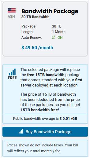 BMC bandwidth package summary