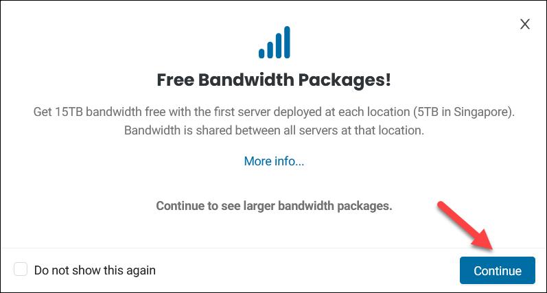BMC free bandwidth pop-up message.
