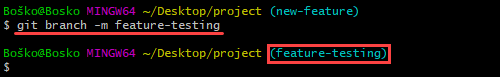 Changing a local branch name in Git.