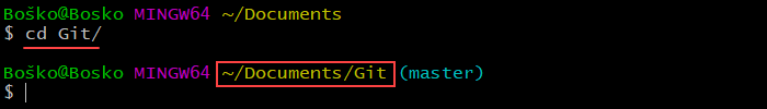 Changing the directory using Git Bash.