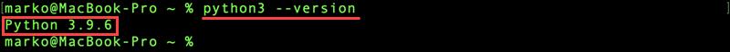 Check Python version on macOS.