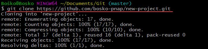 Clone a git repository via Git Bash.