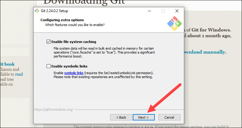 Choose extra options during git installation.
