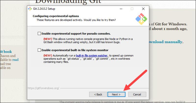 Configure experimental git features.