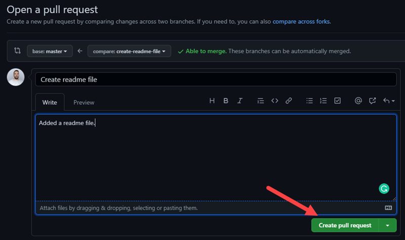 Create a pull request in GitHub.