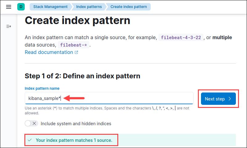 Defining the index pattern in Kibana