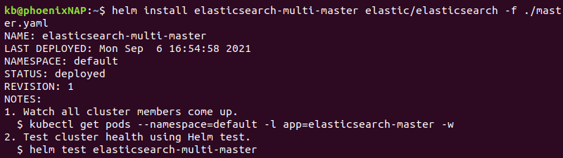 deploying master pod elasticsearch