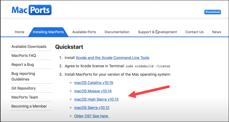 Download MacPorts from the official website.