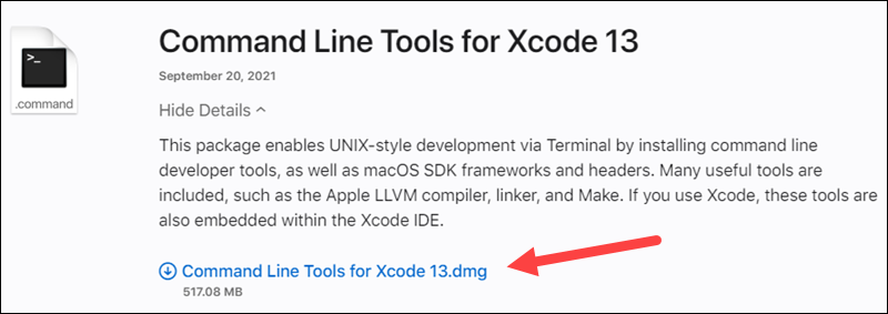 Download Command Line Tools for Xcode on macOS.