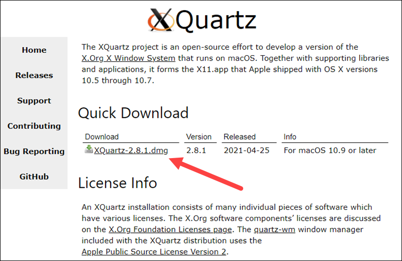 Download XQuartz from the official website.
