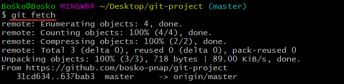 Running git fetch to see if there are available changes remotely.