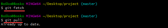 Update the main branch by running git fetch and git pull.
