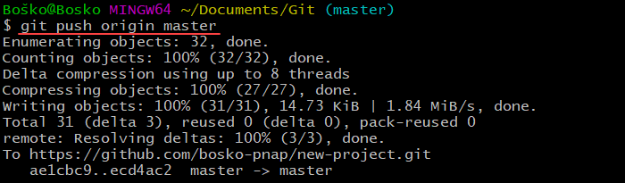Running git push to send changes to a remote repository.