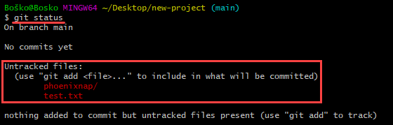 The git status command shows which files Git tracks.