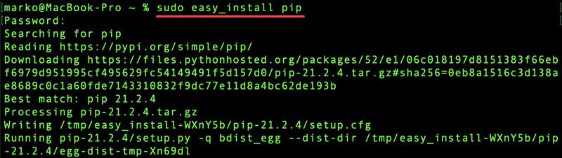 Install pip via easy_install on macOS.